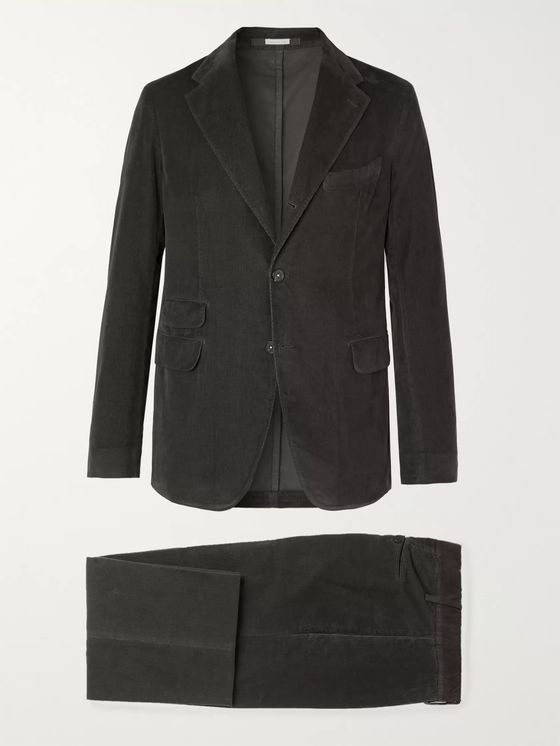Massimo Alba Black Cotton-Corduroy Suit