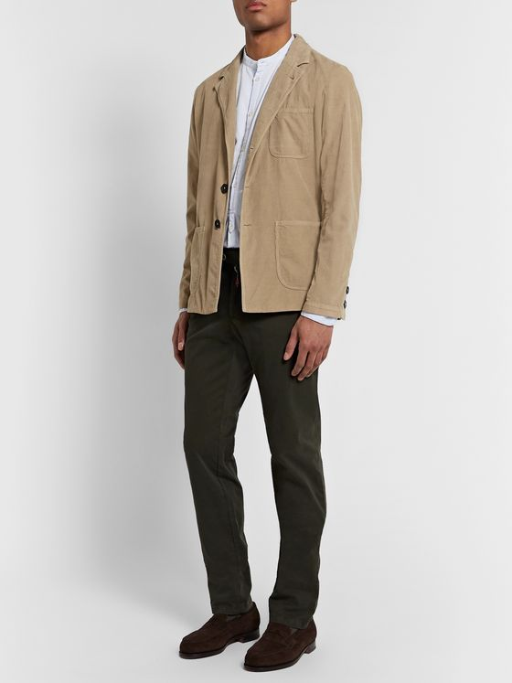 Massimo Alba Tan Unstructured Cotton-Corduroy Blazer