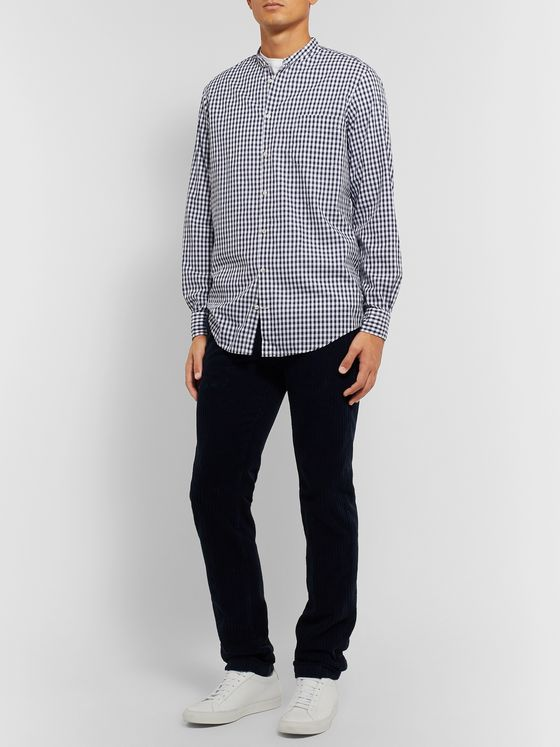 Massimo Alba Noto Grandad-Collar Checked Cotton-Poplin Shirt
