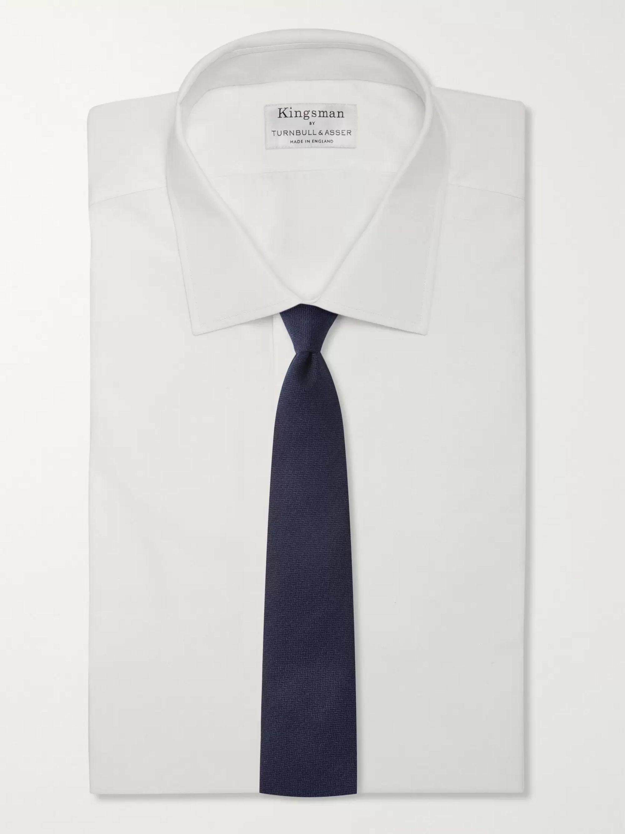 Navy + Drake's 8cm Herringbone Cashmere Tie | Kingsman
