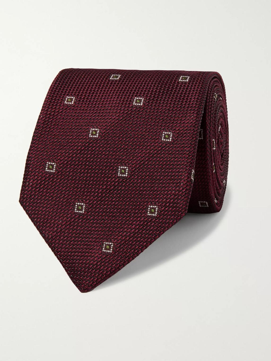 Kingsman Drake's 8cm Embroidered Silk-jacquard Tie In Burgundy