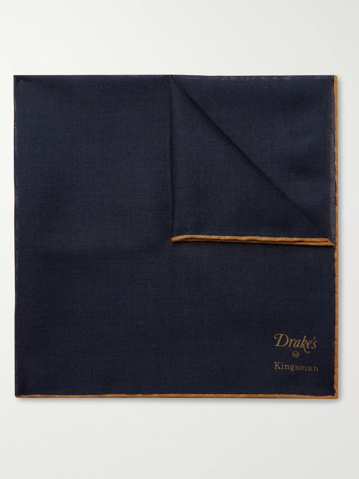 Kingsman Drake's Wool And Silk-blend Pocket Square In Blue