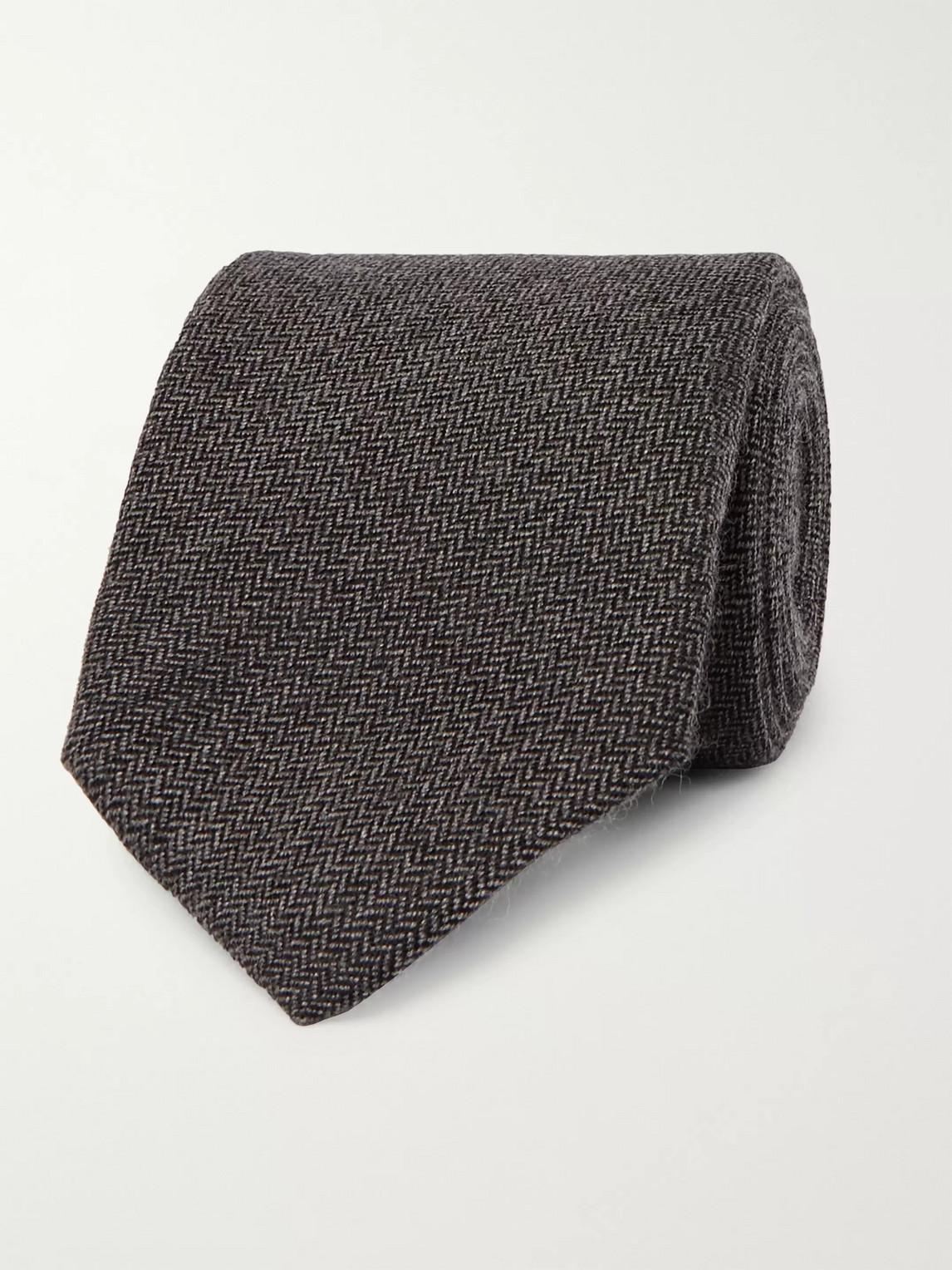 Kingsman Drake's 8cm Herringbone Cashmere Tie In Gray