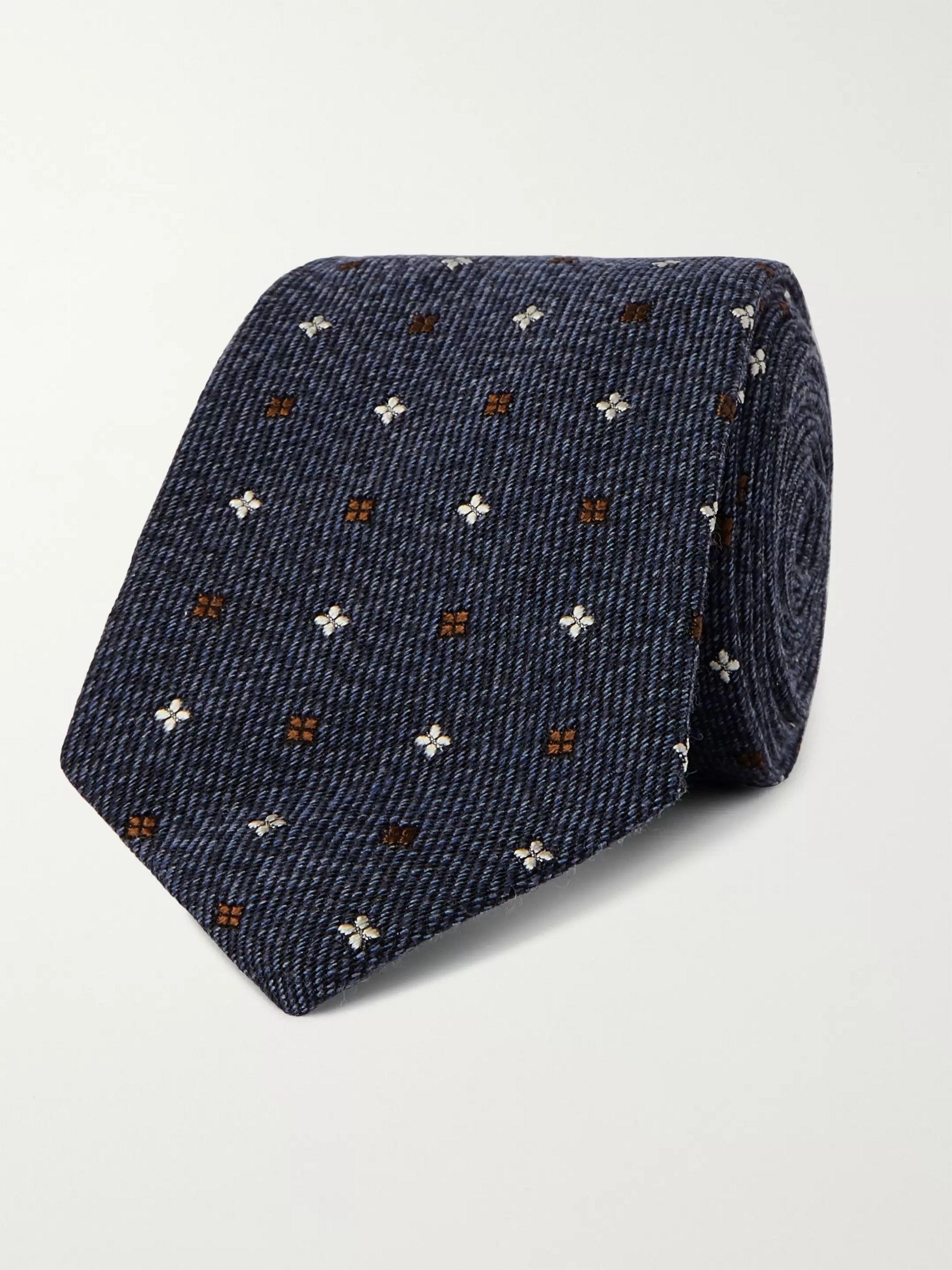 킹스맨 X 드레익스 넥타이 KINGSMAN + Drake's 7.5cm Embroidered Wool and Silk-Blend Tie,Blue