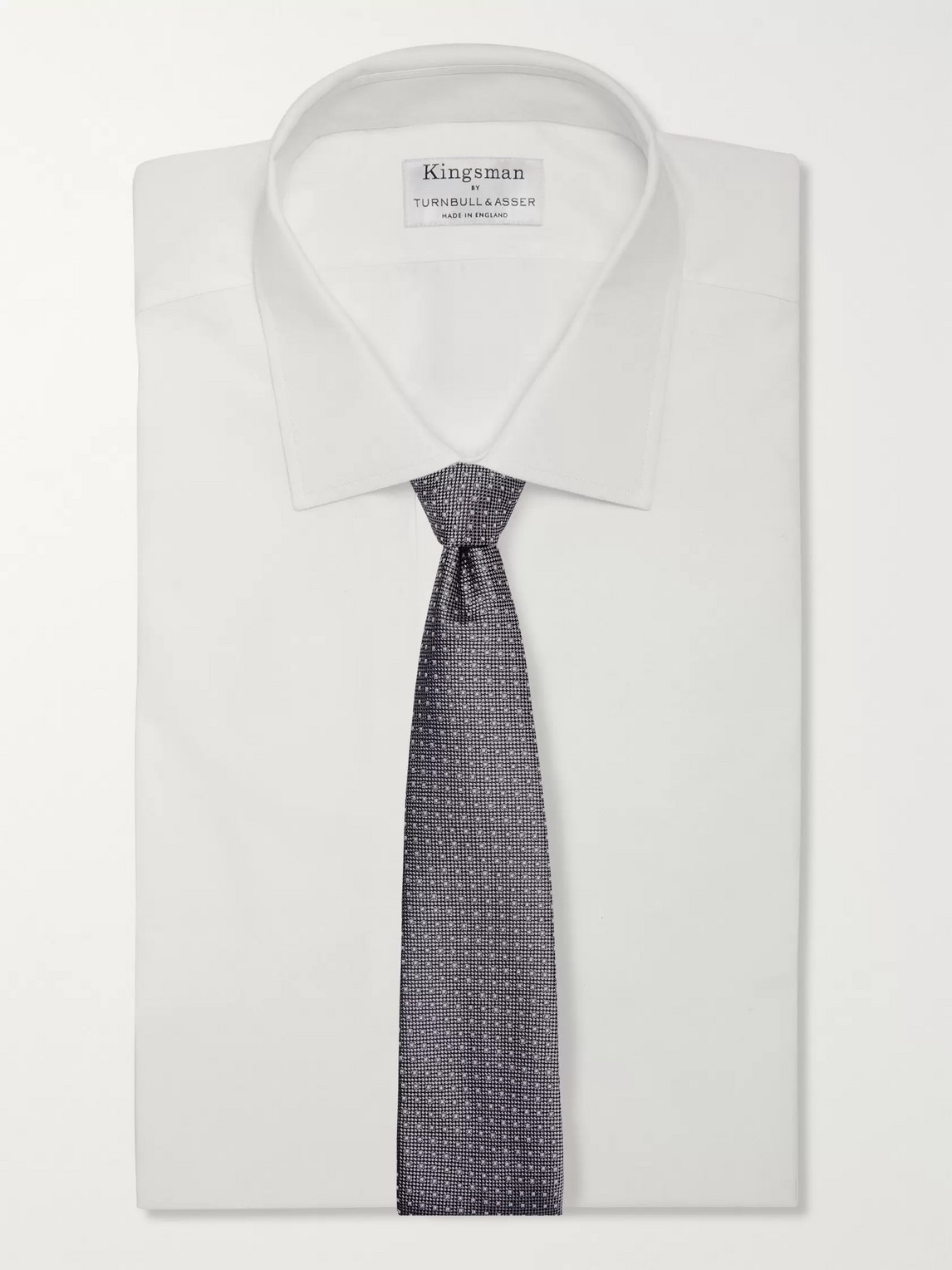 Kingsman Drake's 8cm Polka-dot Silk-jacquard Tie In Gray