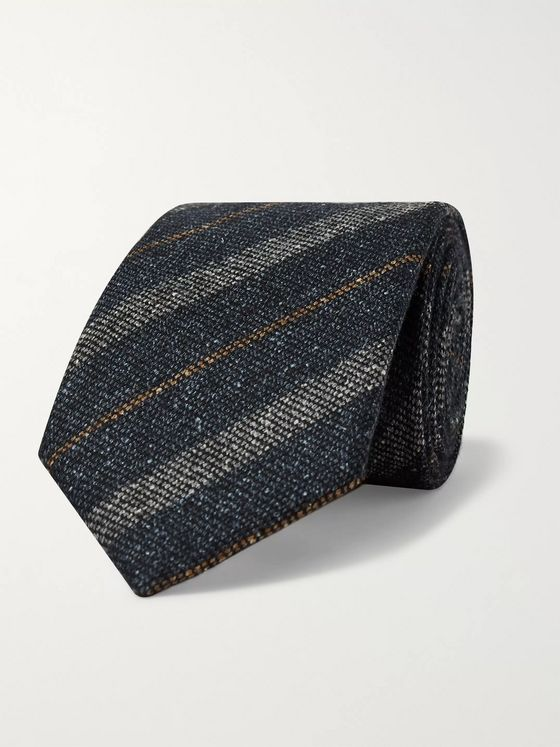 KINGSMAN + Drake's 8cm Striped Slub Wool and Silk-Blend Tie