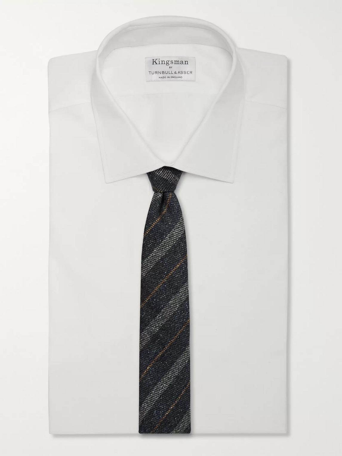 Kingsman Drake's 8cm Striped Slub Wool And Silk-blend Tie In Blue