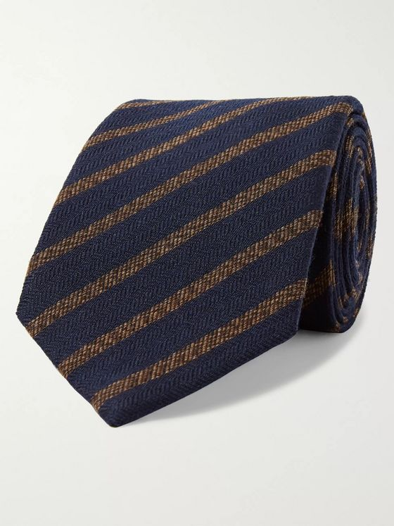KINGSMAN 8cm Striped Wool and Silk-Blend Tie