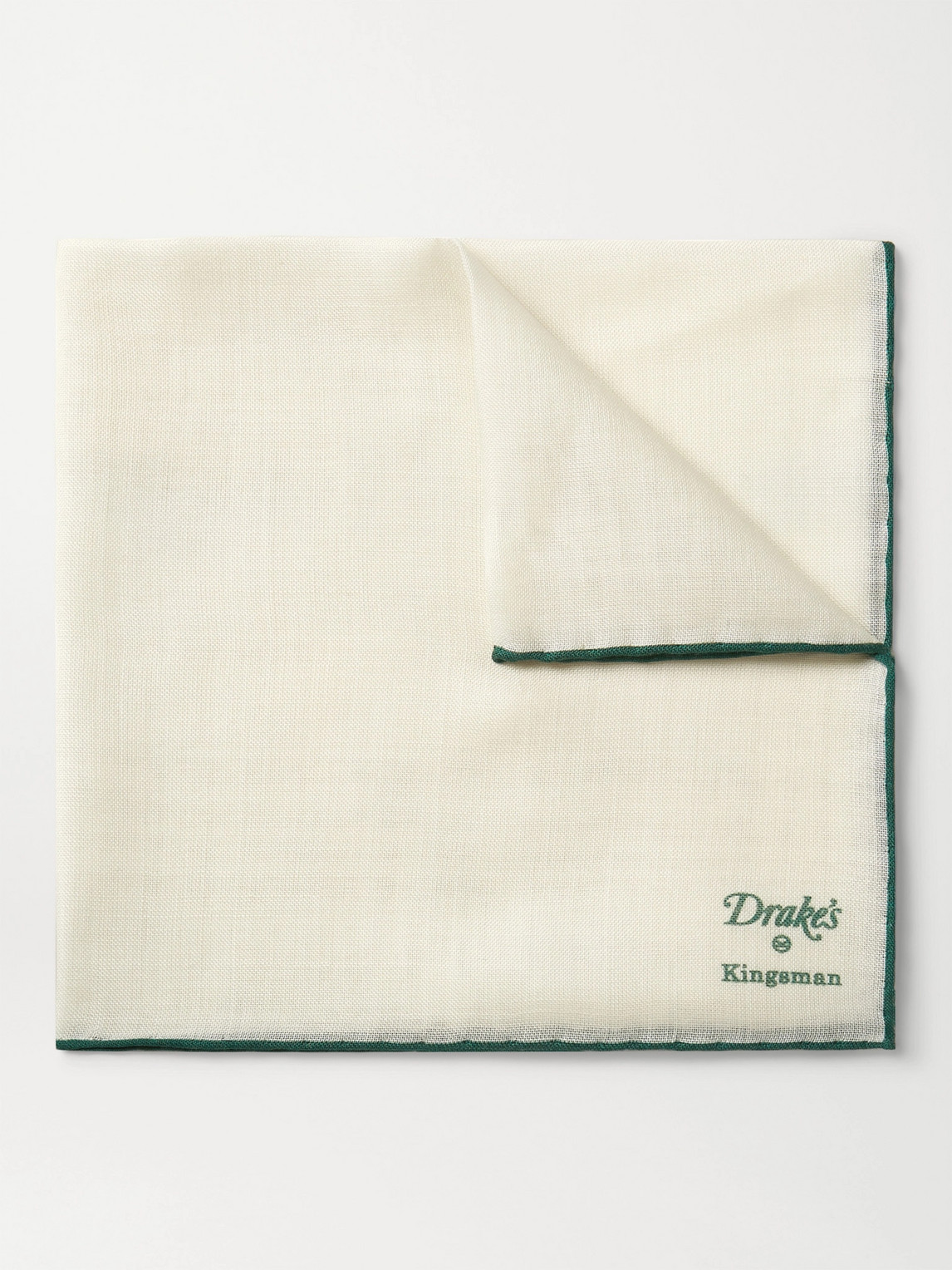 Kingsman Drake's Wool And Silk-blend Pocket Square In Neutrals