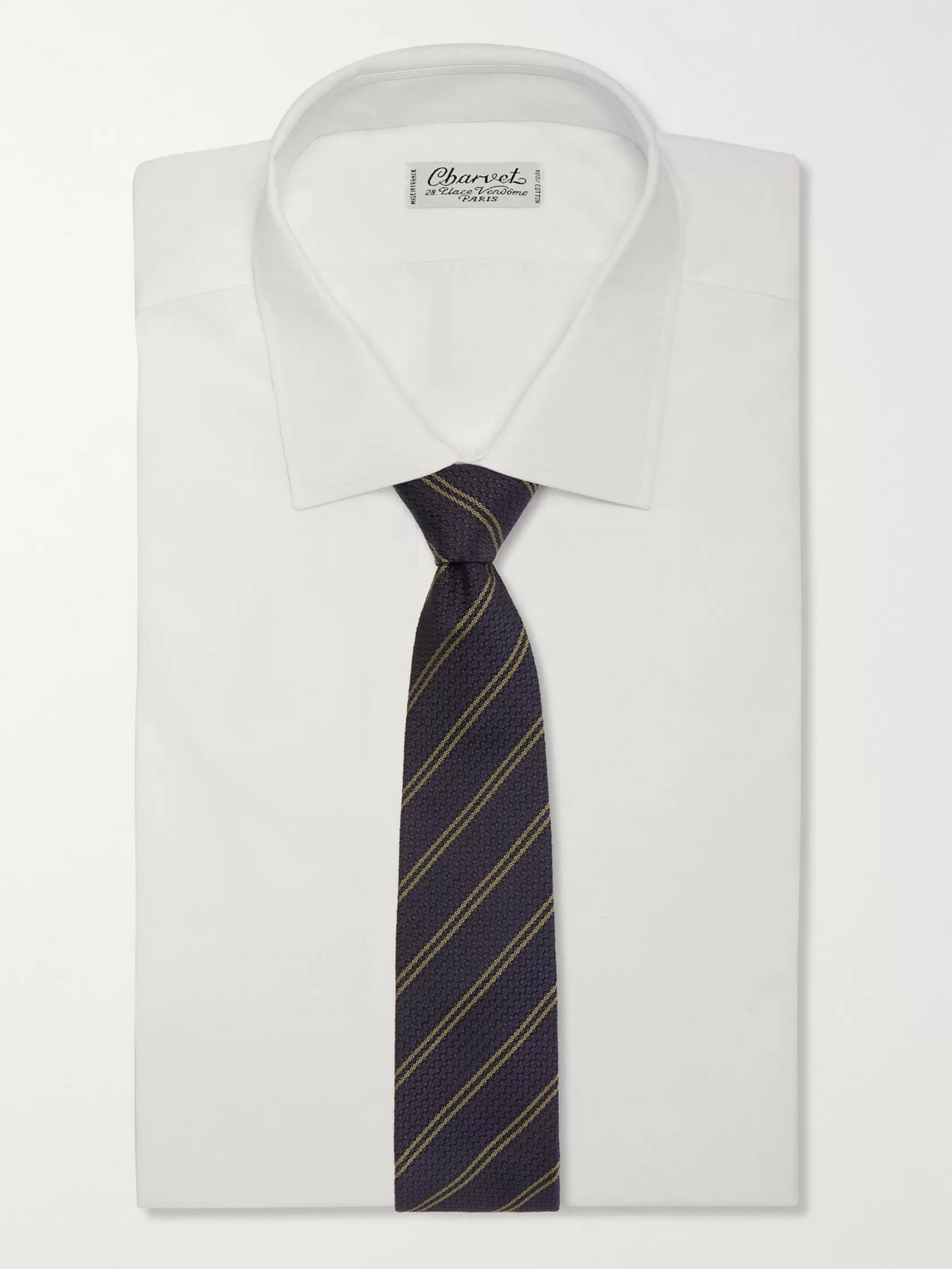 Kingsman Drake's 8cm Striped Silk Tie In Blue