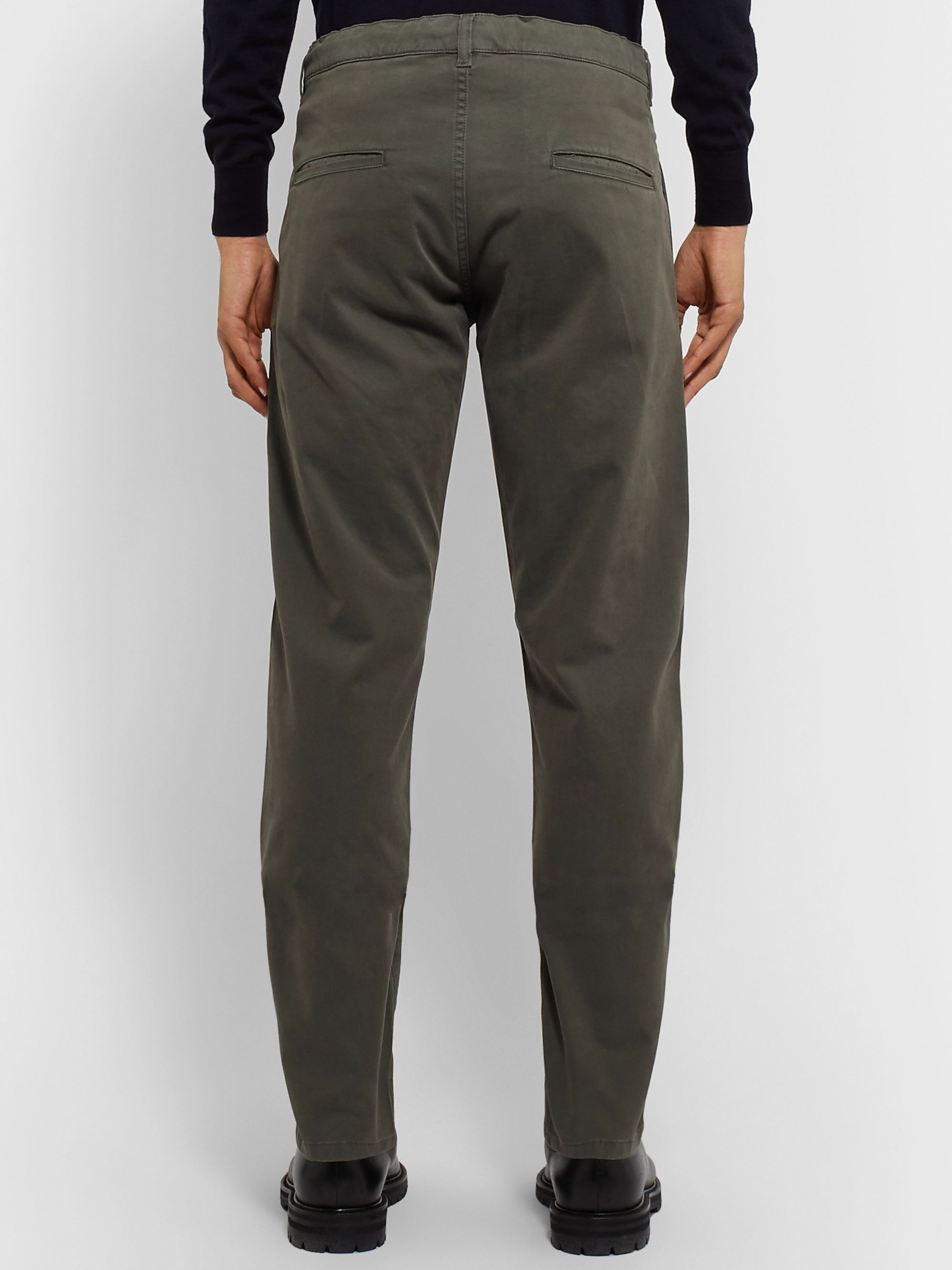 Aspesi Slim-Fit Garment-Dyed Stretch-Cotton Twill Drawstring Trousers