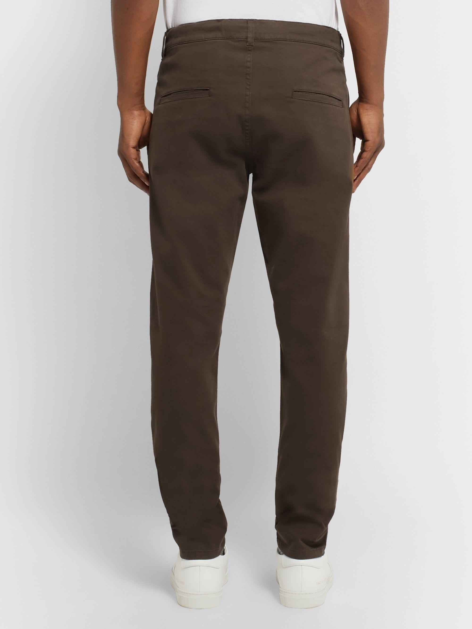 Aspesi Slim-Fit Garment-Dyed Cotton-Blend Twill Trousers