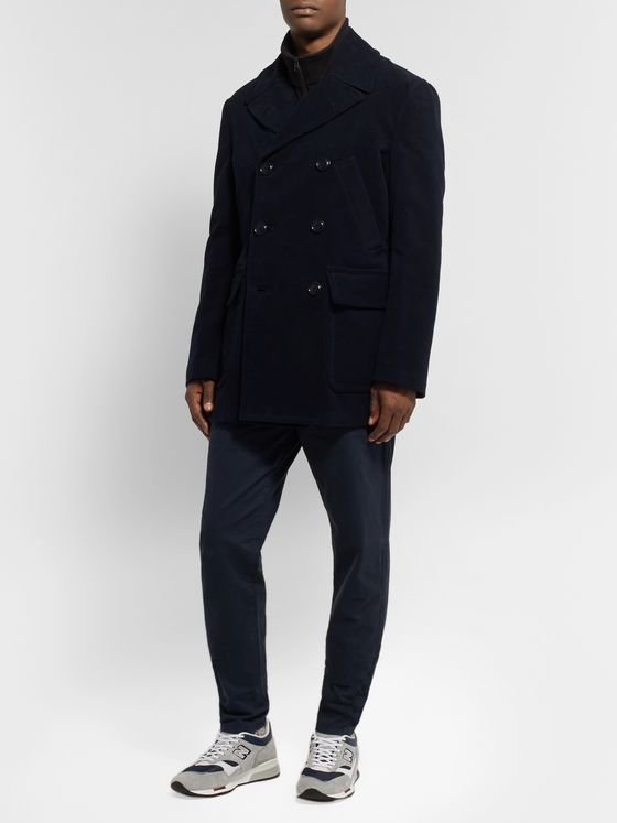 Aspesi Double-Breasted Cotton-Moleskin Peacoat