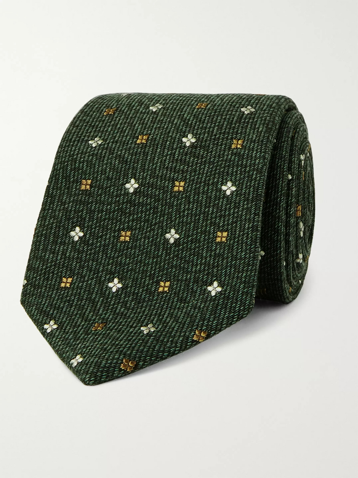 Kingsman Drake's 7.5cm Embroidered Wool And Silk-blend Tie In Green
