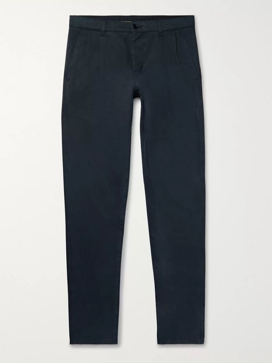 Aspesi Navy Pleated Cotton-Gabardine Trousers