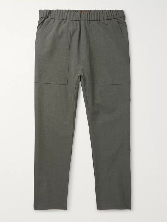 Barena Grey-Green Tapered Cropped Woven Trousers