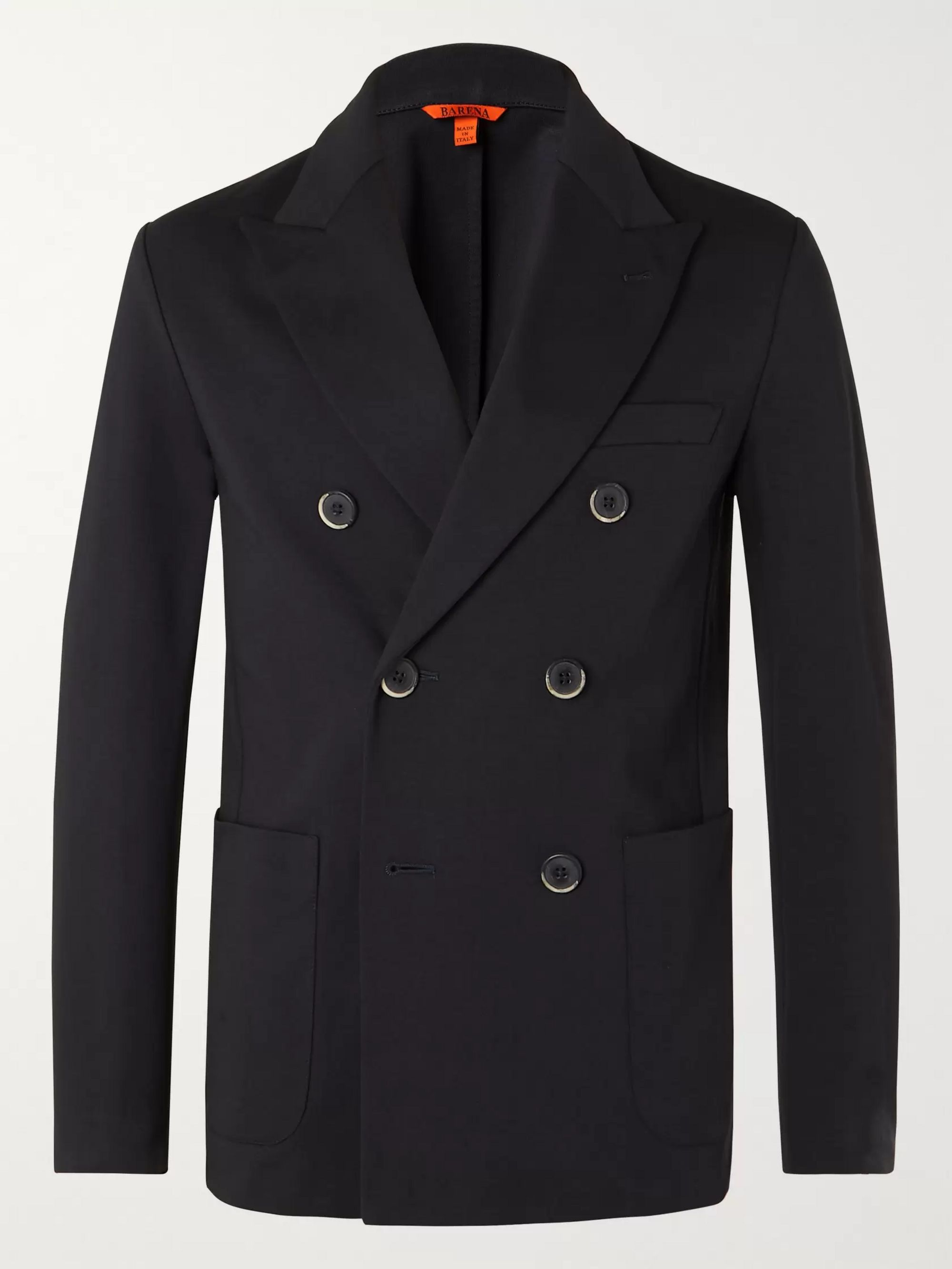 Barena Navy Double-Breasted Cotton-Jersey Blazer