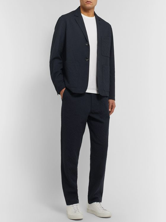 Barena Midnight-Blue Unstructured Virgin Wool-Blend Seersucker Suit Jacket