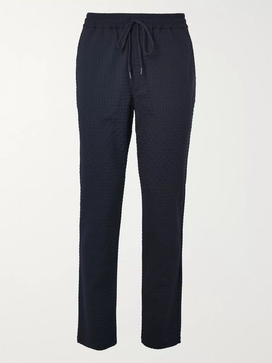 Barena Navy Tapered Wool-Blend Seersucker Drawstring Trousers