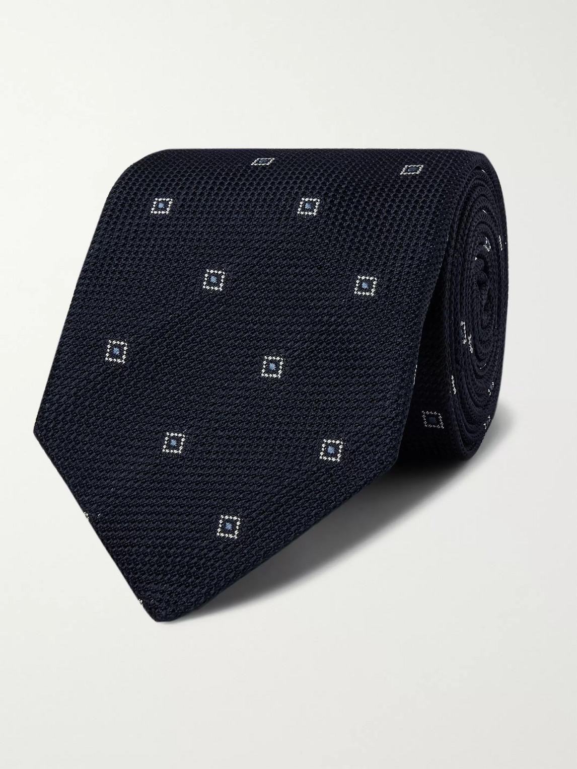 Kingsman Drake's 8cm Embroidered Silk-jacquard Tie In Blue