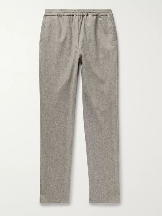 DE BONNE FACTURE Tapered Wool-Flannel Trousers