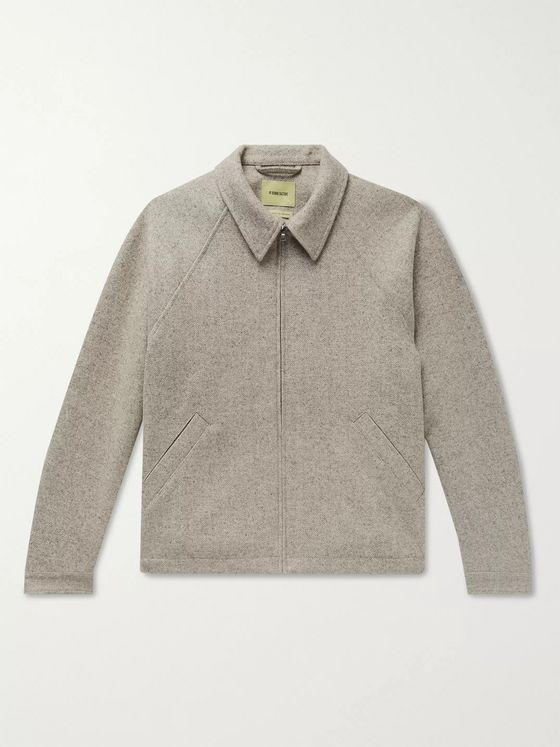 De Bonne Facture Virgin Wool and Linen-Blend Blouson Jacket
