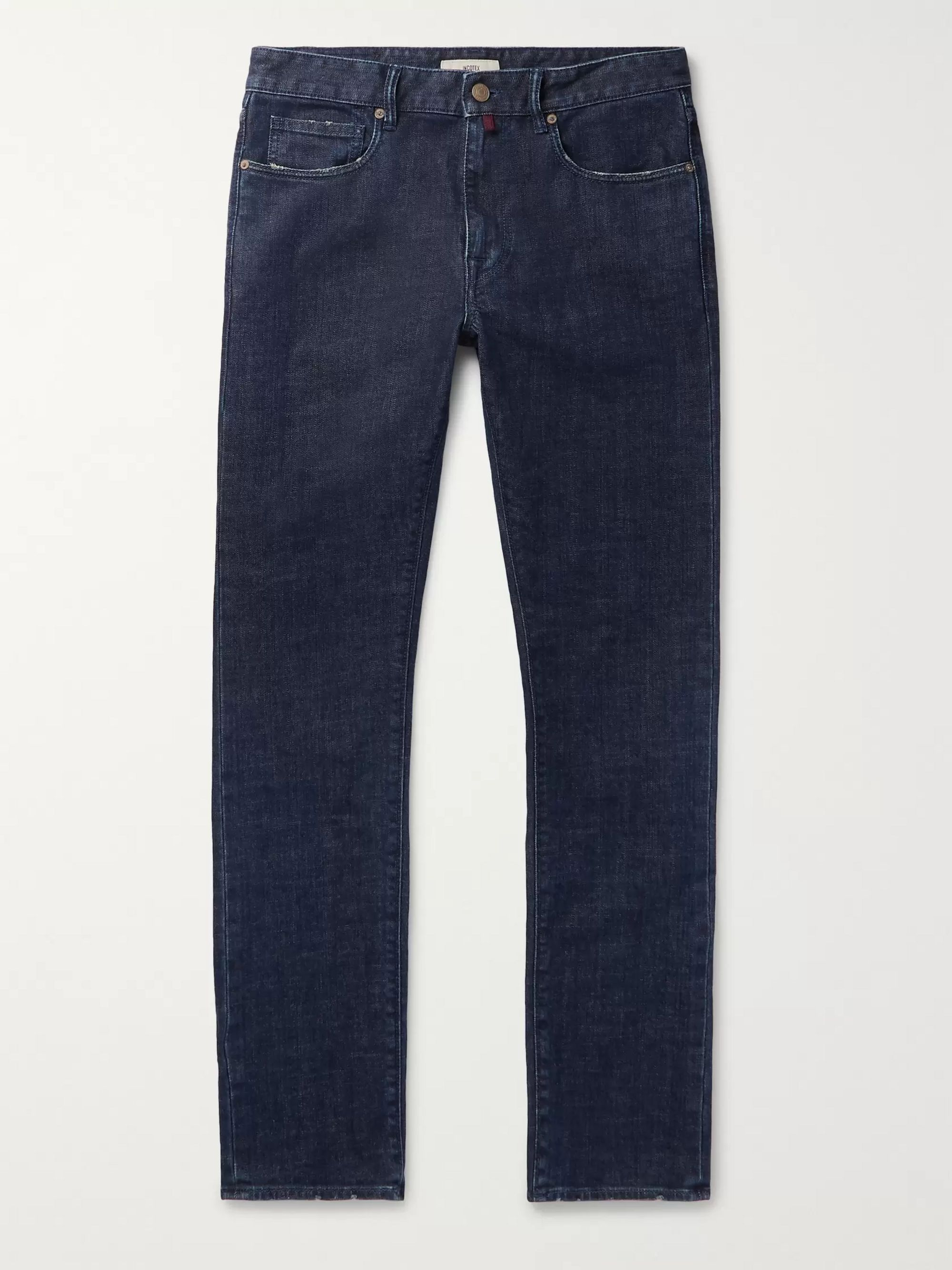 Incotex Slim-Fit Distressed Denim Jeans