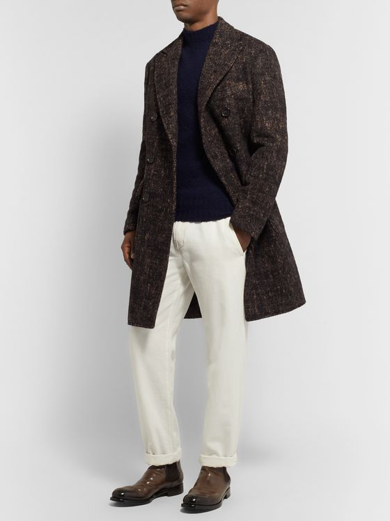 Incotex Double-Breasted Herringbone Wool-Blend Overcoat