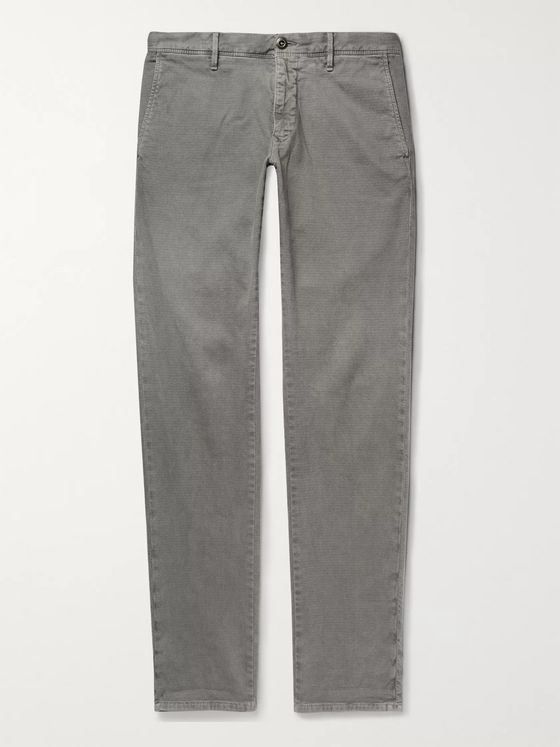 Incotex Light-Grey Slim-Fit Textured Cotton-Blend Trousers