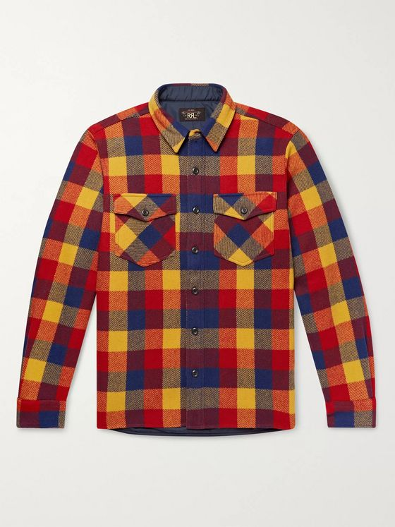 RRL Checked Wool-Twill Overshirt