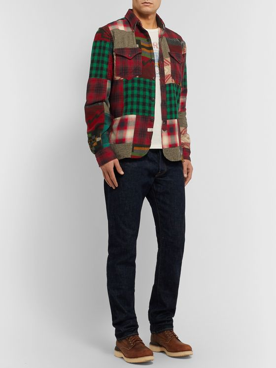 RRL Patchwork Cotton and Wool-Blend Flannel Overshirt