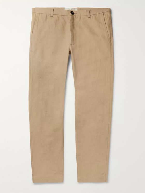 Séfr Navy Harvey Cotton-Blend Trousers