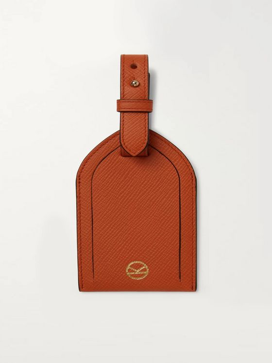Kingsman + Smythson Cross-Grain Leather Luggage Tag
