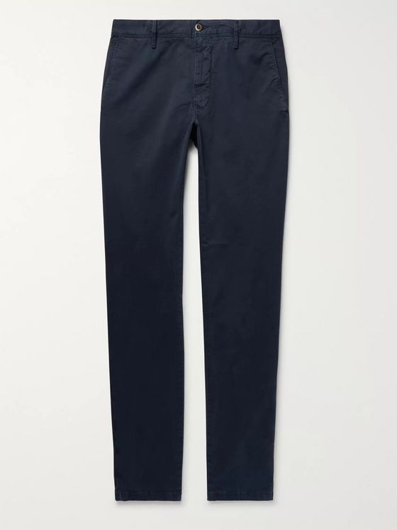 Incotex Storm-Blue Slim-Fit Printed Cotton-Blend Twill Trousers