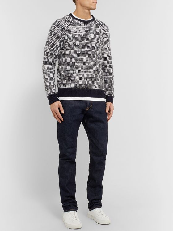 Incotex Checked Brushed Virgin Wool-Blend Sweater