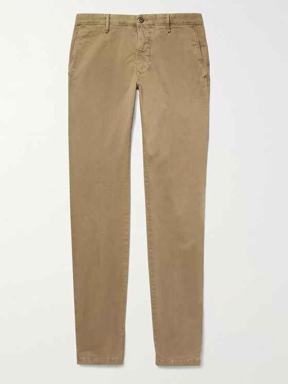 Incotex Slim-Fit Printed Cotton-Blend Twill Trousers