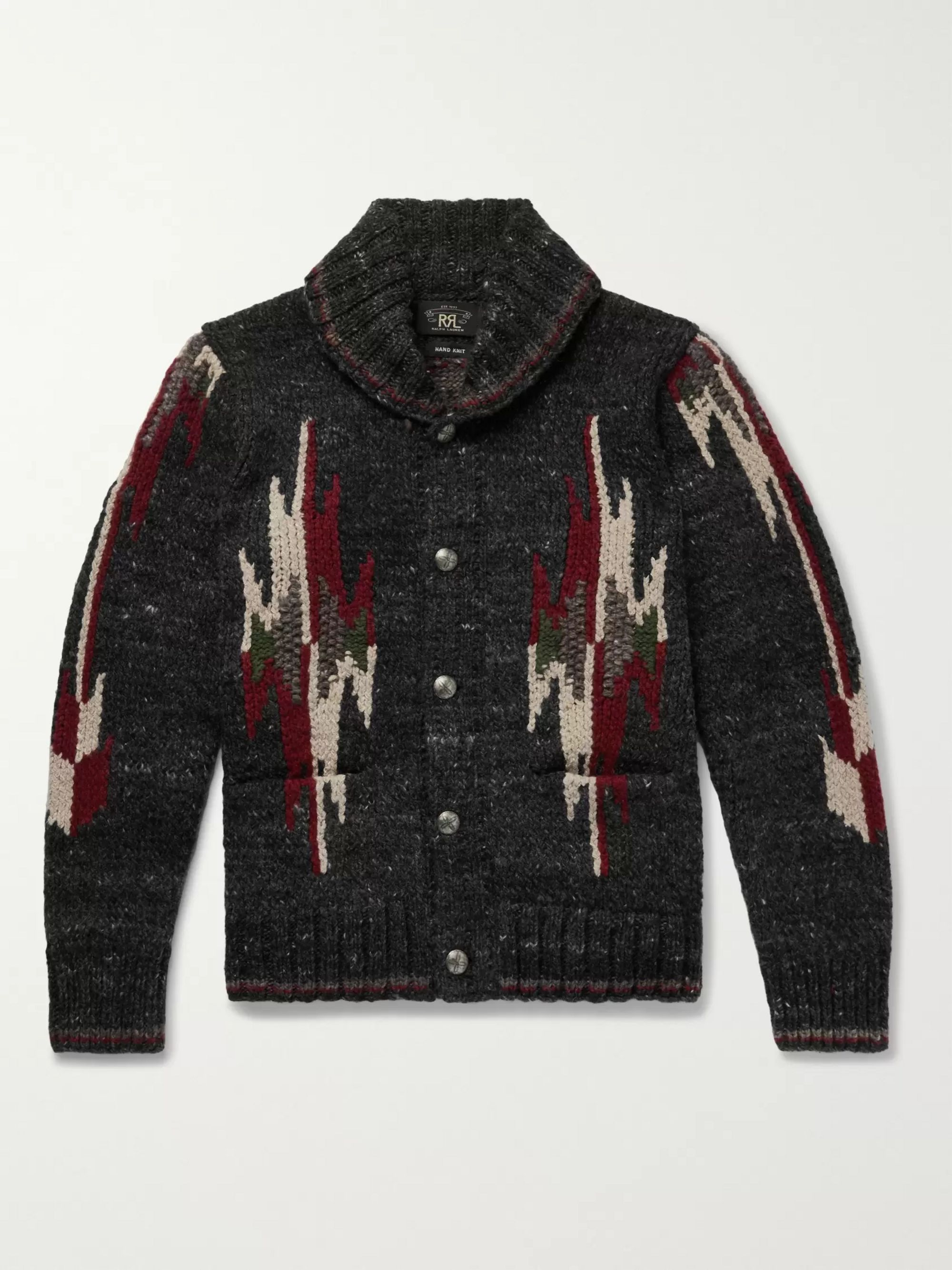 Shawl Collar Wool And Silk Blend Jacquard Cardigan by Rrl