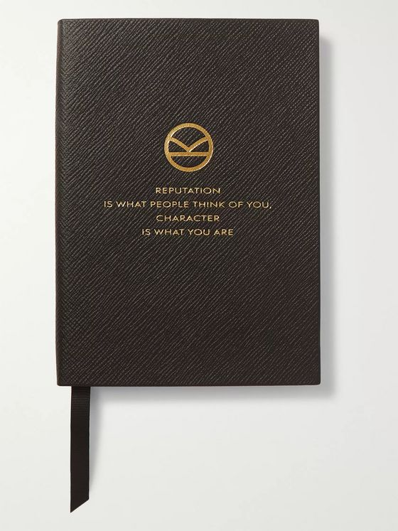 KINGSMAN + Smythson Printed Cross-Grain Leather Notebook