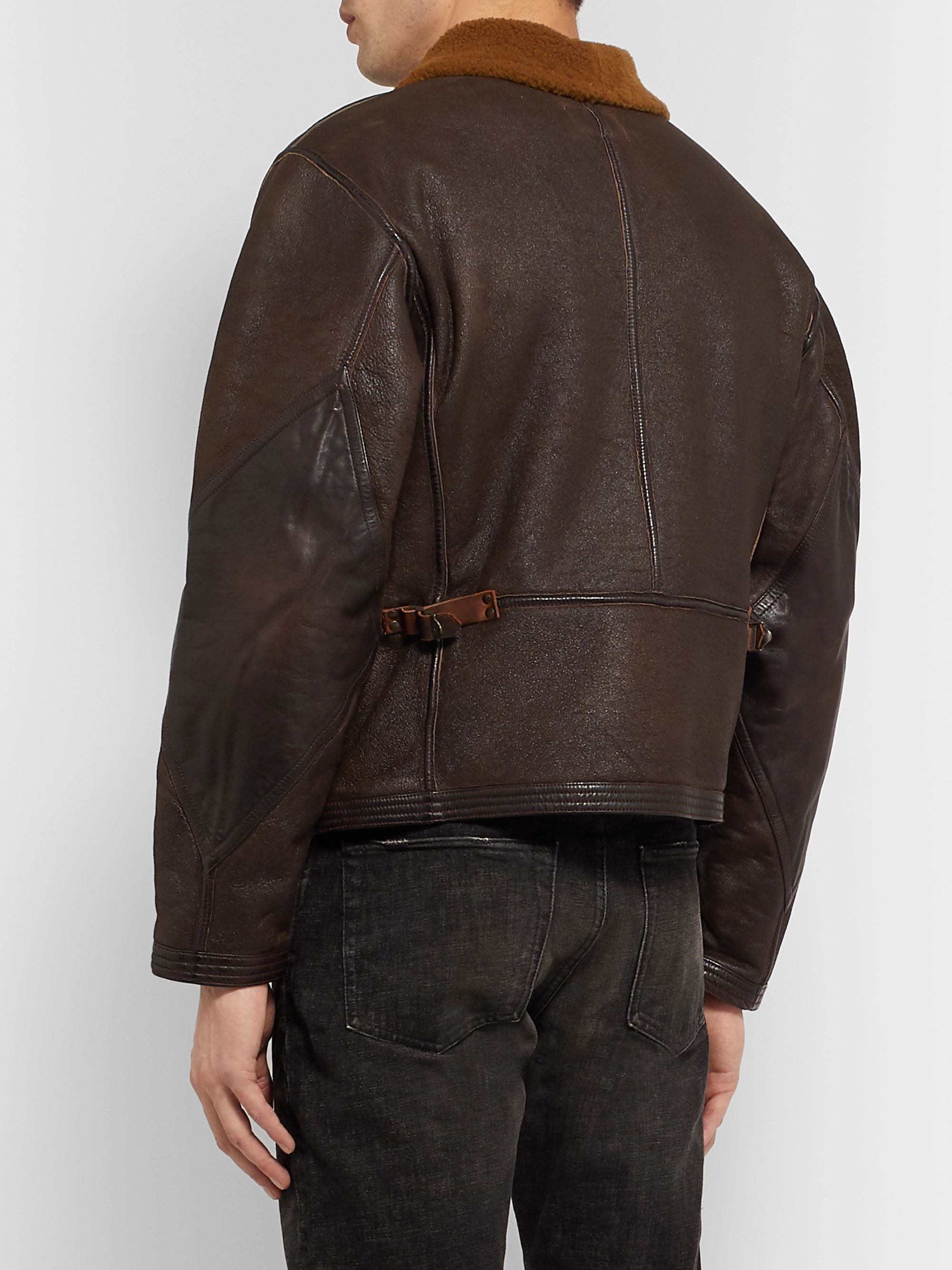 RRL Leather-Trimmed Shearling Jacket