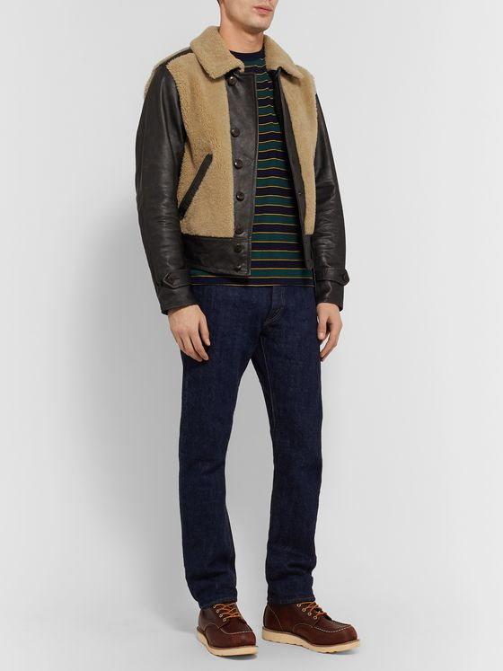 RRL Shearling-Panelled Leather Jacket