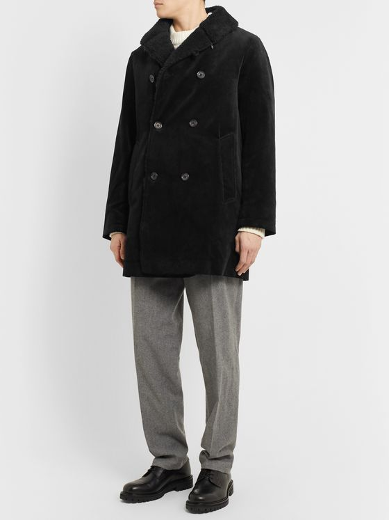 Oliver Spencer Newington Double-Breasted Faux Shearling-Lined Cotton-Corduroy Coat