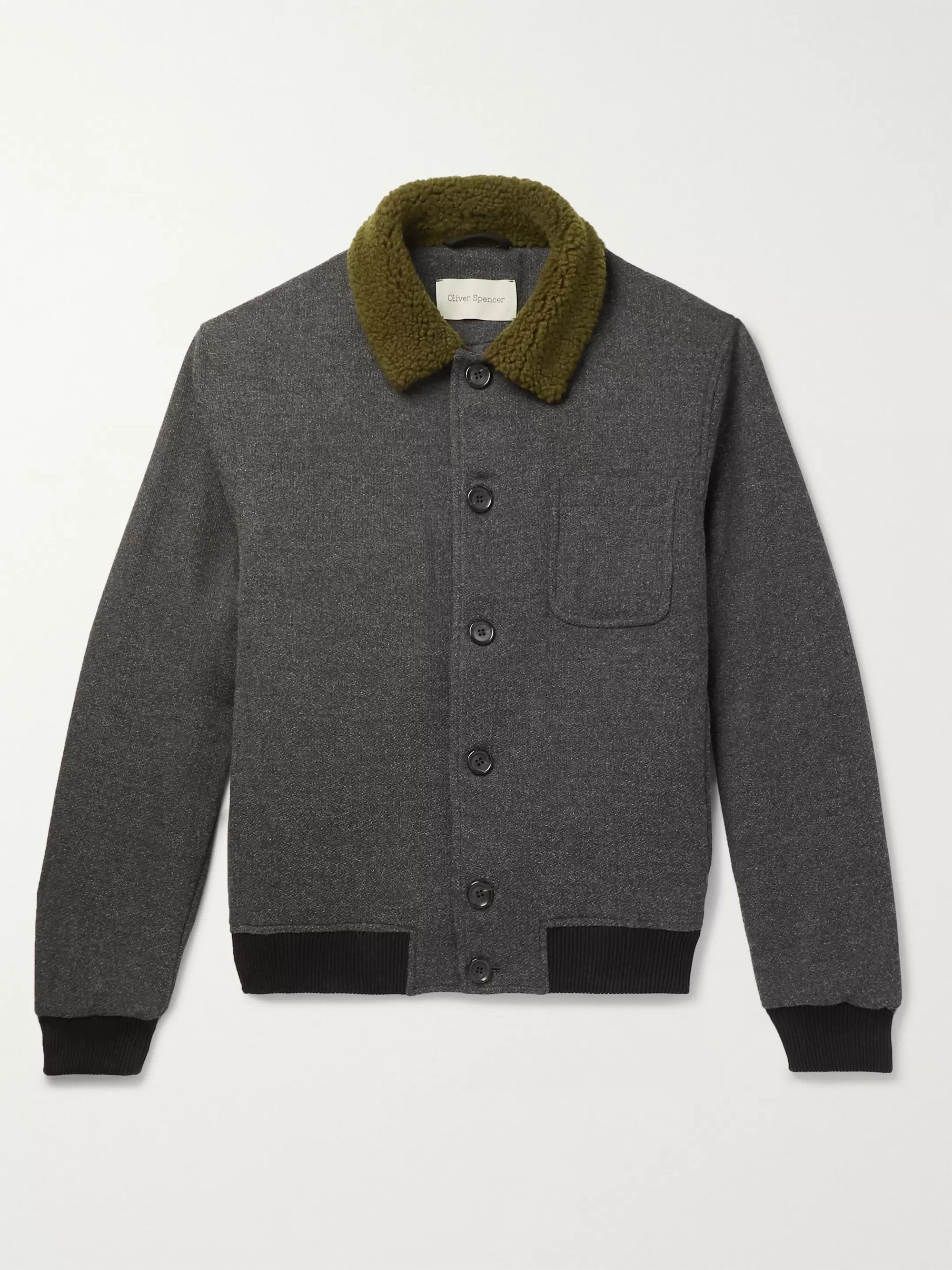 Oliver Spencer Foxham Faux Shearling-Trimmed Mélange Wool and Cotton-Blend Bomber Jacket