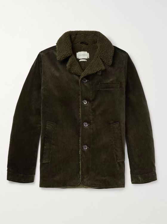Oliver Spencer Brockwell Faux Shearling-Lined Cotton-Corduroy Jacket