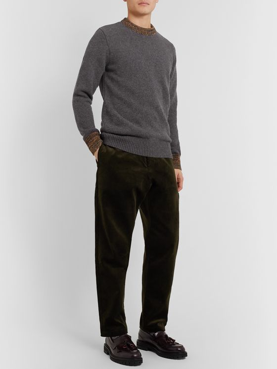 Oliver Spencer Slim-Fit Blenheim Mélange-Trimmed Wool Sweater