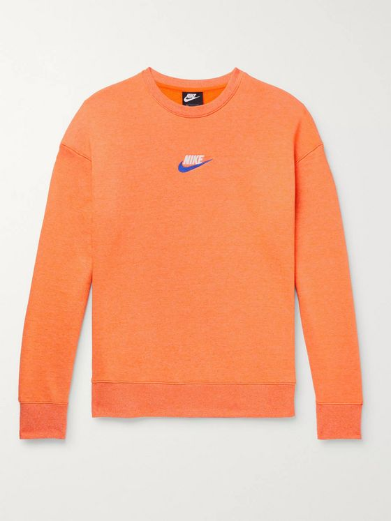 Nike Logo-Embroidered Mélange Loopback Cotton-Blend Jersey Sweatshirt
