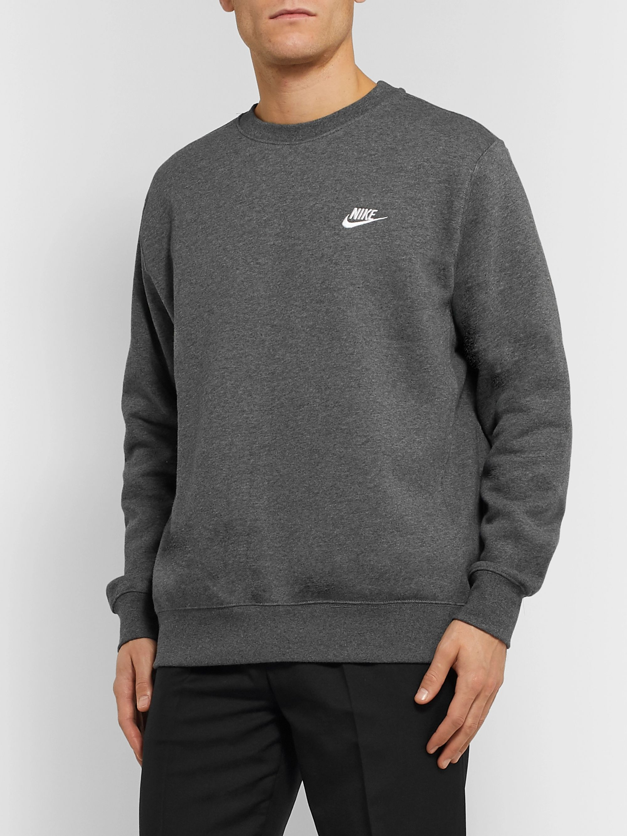 Sportswear Logo Embroidered Mélange Fleece Back Cotton Blend Jersey Sweatshirt