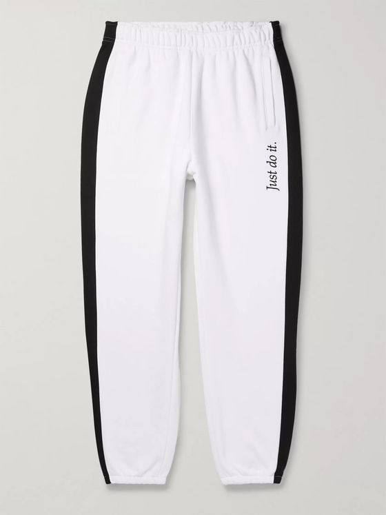 Nike Wide-Leg Logo-Embroidered Fleece-Back Cotton-Blend Jersey Sweatpants
