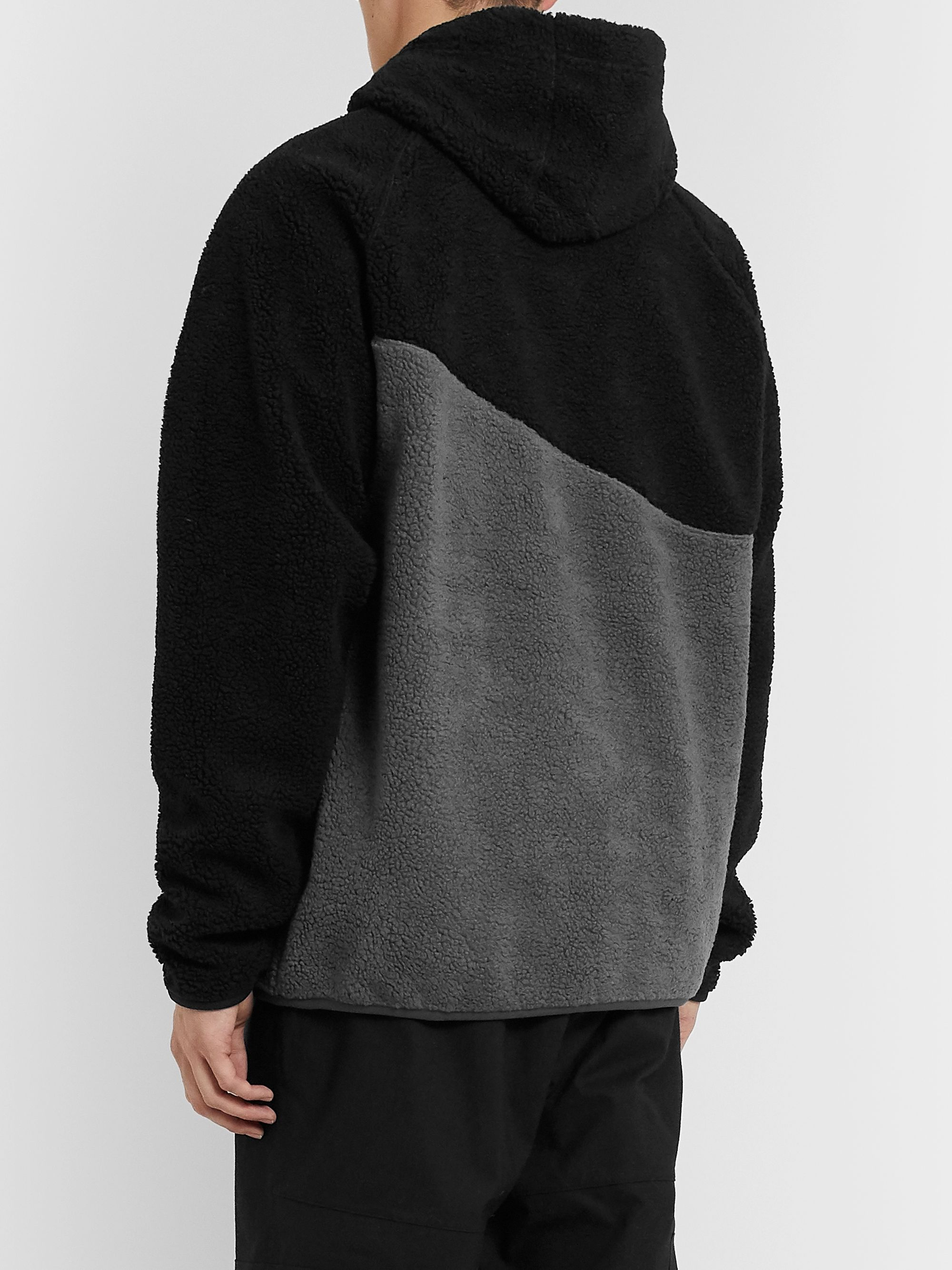 Nike Sportswear Logo Embroidered Two Tone Fleece Hoodie Black