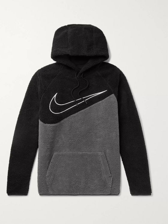 Nike Sportswear Logo-Embroidered Two-Tone Fleece Hoodie