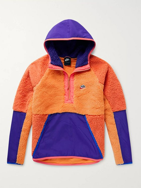 Nike Colour-Block Shell-Trimmed Fleece Half-Zip Hoodie